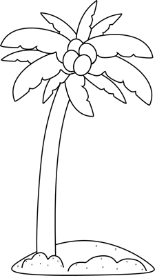 Black and White Palm Tree in the Sand Clip Art