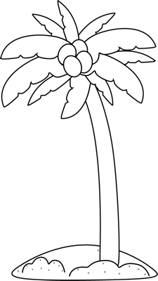 Black and White Palm Tree on the Beach Clip Art