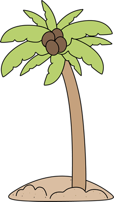Palm Tree on the Beach Clip Art