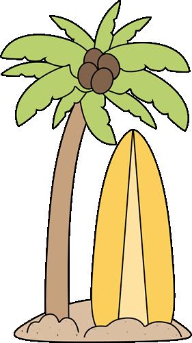 Surfboard Under a Palm Tree