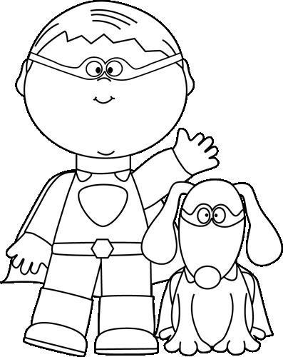 Black And White Boy Superhero And Dog Clip Art Black And White Boy Superhero And Dog Image