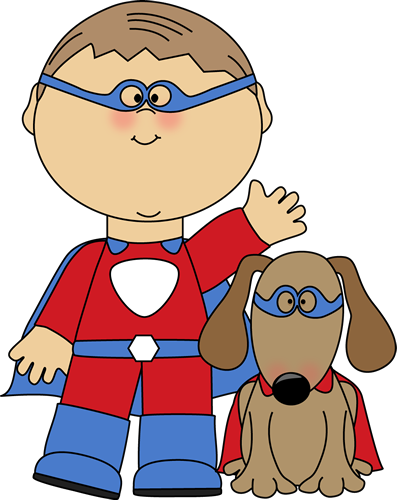 Boy Superhero and Dog