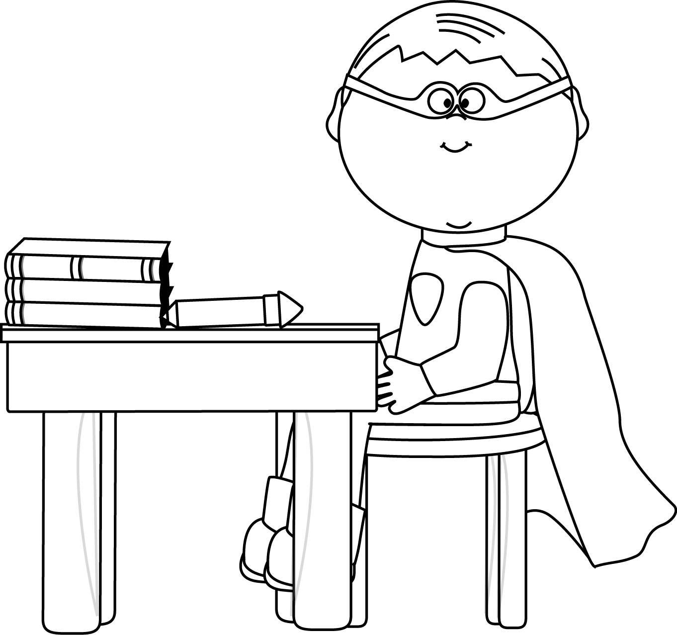 Black and White Boy Superhero at School Desk