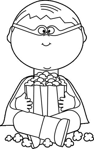 Black and White Boy Superhero Eating Popcorn