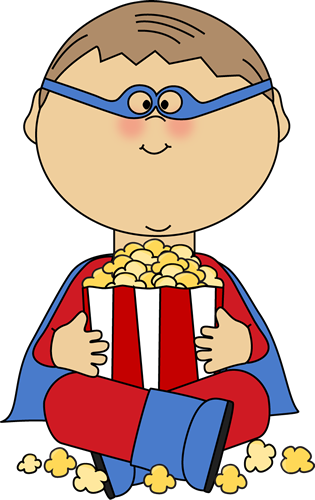 Boy Superhero Eating Popcorn