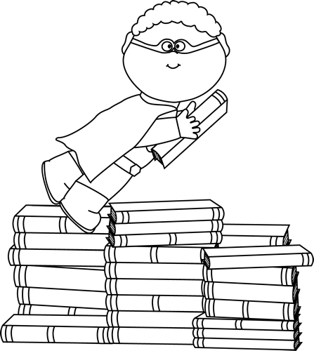 Black and White Boy Superhero Flying Around Books