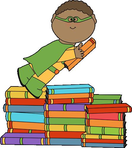 Boy Superhero Flying Over Books