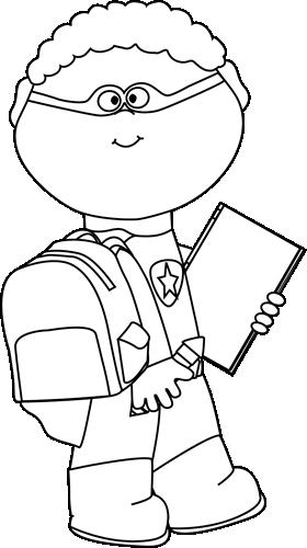 Black and White Boy Superhero Going to School