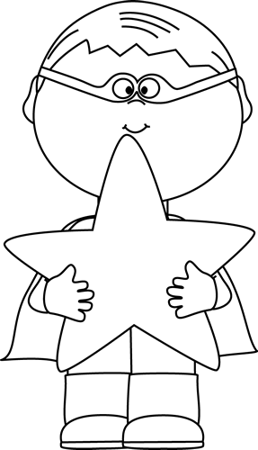 Black and White Boy Superhero Holding a Star