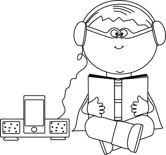 Black and White Boy Superhero Listening to a Book