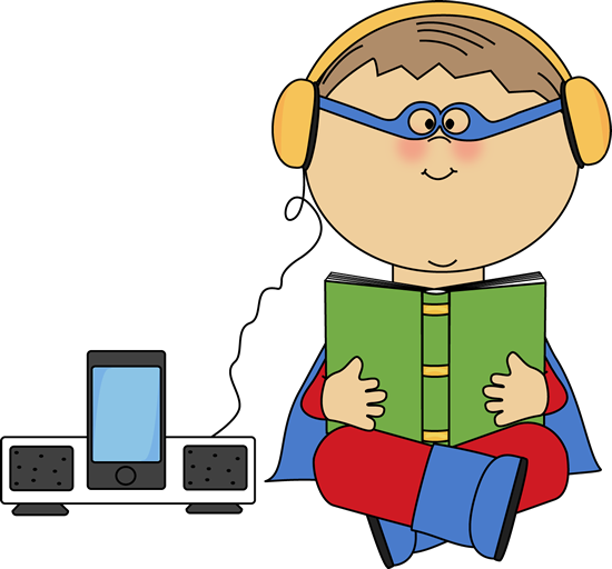 Boy Superhero Listening to a Book