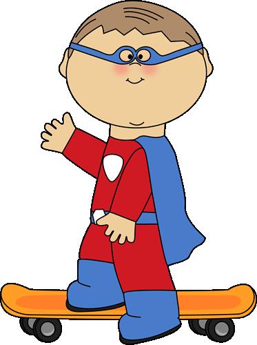 Boy Superhero on a Skateboard