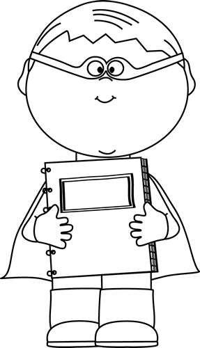 Black and White Boy Superhero with a Notebook