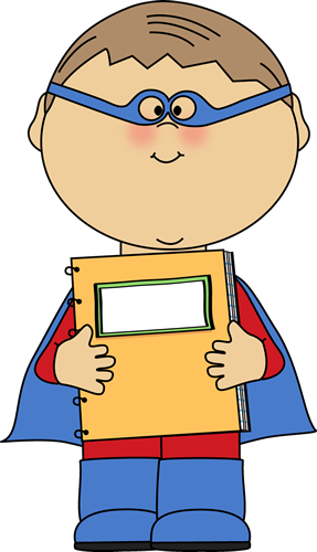 Boy Superhero with a Spiral Notebook