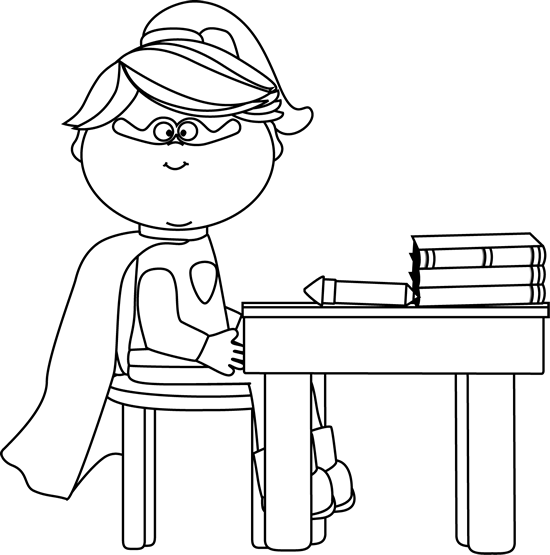 Black and White Girl Superhero at School Desk