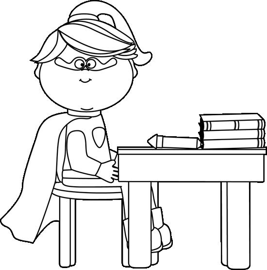 Black and White Girl Superhero at School Desk