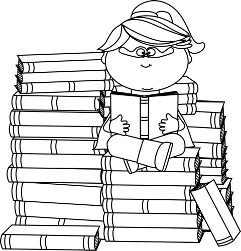Black and White Superhero Girl Bookworm