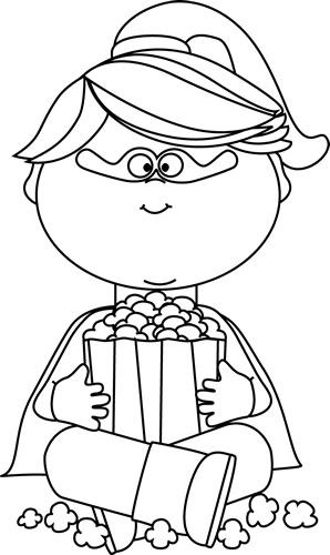 Black and White Superhero Girl Eating Popcorn