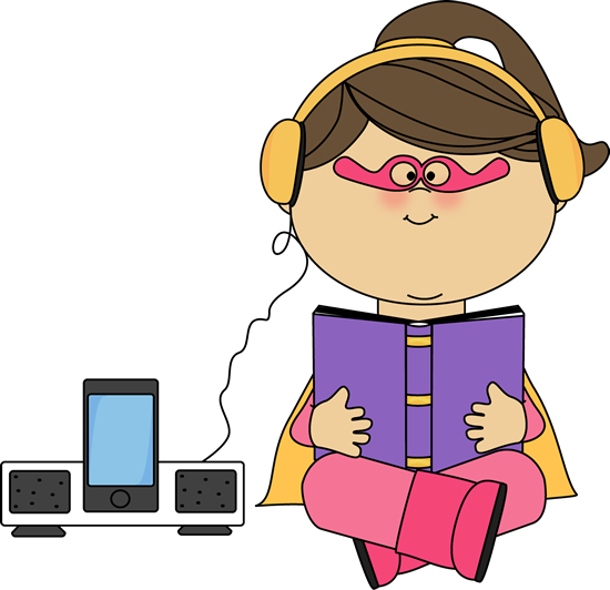 Superhero Girl Listening to a Book
