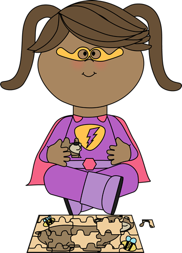 Girl Superhero with a Puzzle