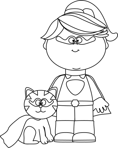 Black and White Superhero Girl with a Cat