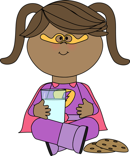 Girl Superhero With Cookies And Milk Clip Art