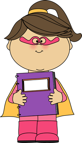 Girl Superhero with a Spiral Notebook