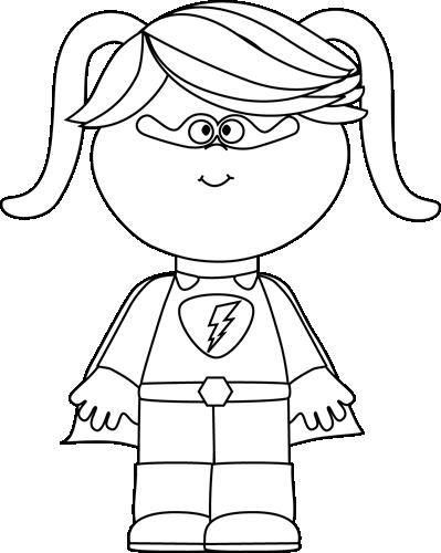 Black and White Little Girl Superhero