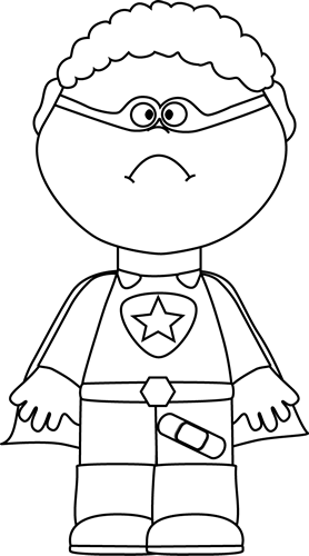 Black and White Sad Superhero with Bandaid Clip Art ...