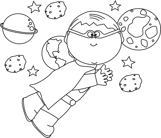 Black and White Superhero Boy Flying In Space