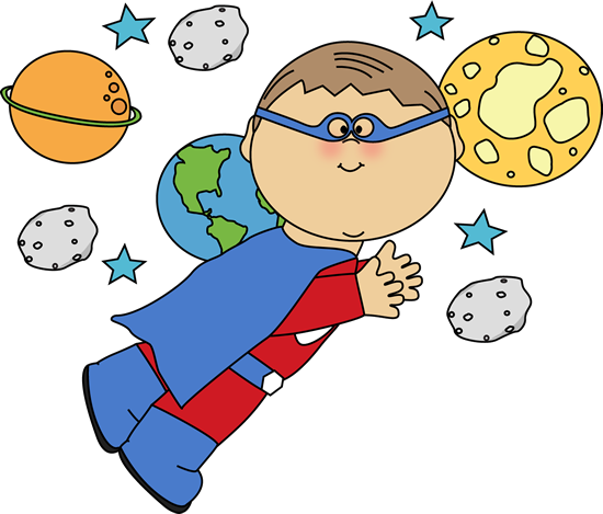 Superhero Boy Flying In Space