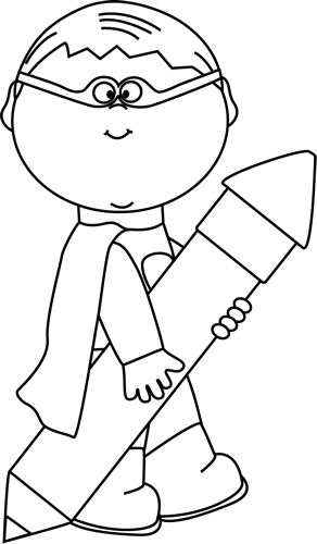 Black and White Superhero Boy with a Big Pencil