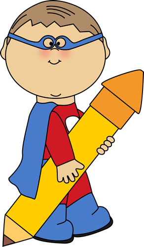 Superhero Boy with a Big Pencil