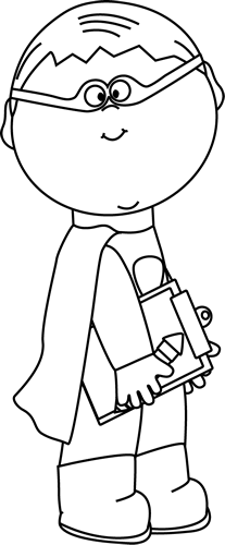 Black and White Superhero Boy with Clipboard