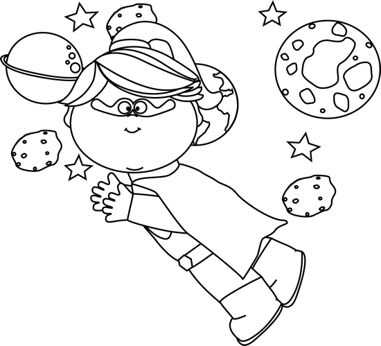 Black and White Superhero Girl Flying In Space In Space