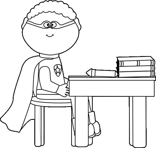 Black and White Superhero in School