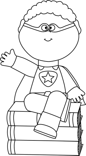 Black and White Superhero Sitting on Books