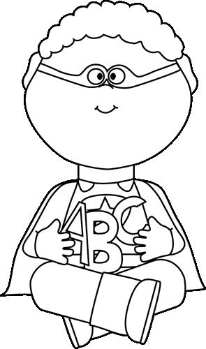 Black And White Superhero Alphabet Letters Clip Art Superhero Boy