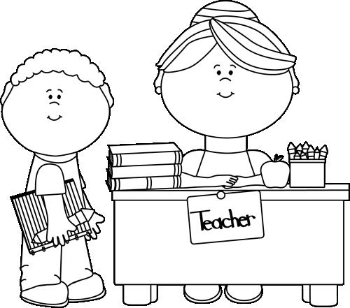 Black and White Boy Student at Teachers Desk Clip Art Black and