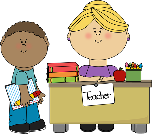 Boy Student at Teacher's Desk Clip Art - Boy Student at ...