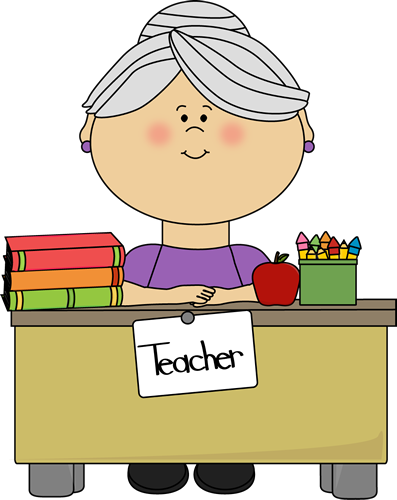 Teacher with Gray Hair Sitting at a Desk