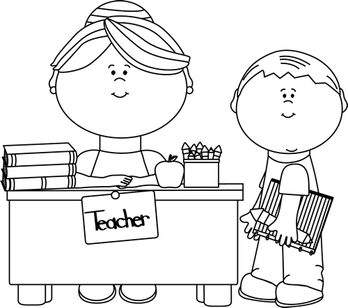 black and white teacher and student clip art black and white rh mycutegraphics com black and white clipart for teachers black and white clipart for school