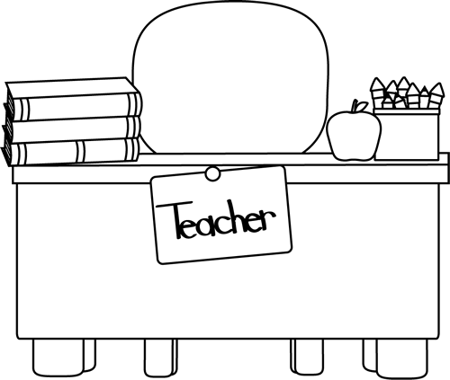 teacher apple clipart black and white. Back And White Teacher\u0027s Desk Teacher Apple Clipart Black