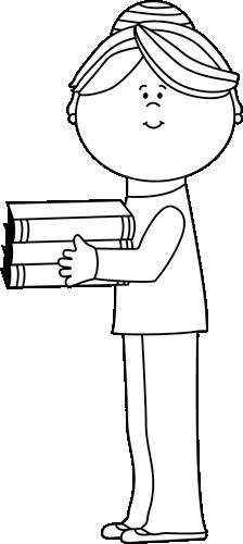 Black and White Teacher Holding Books Clip Art - Black and ...