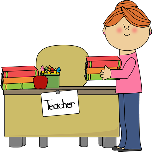 Teacher Desk Clipart Teacher putting books on desk