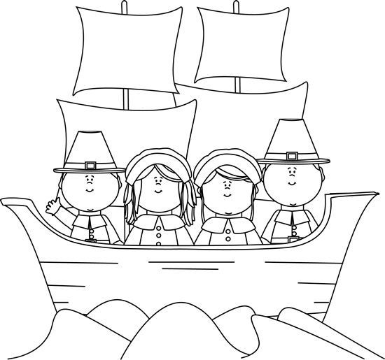 black and white pilgrims on the mayflower clip art black