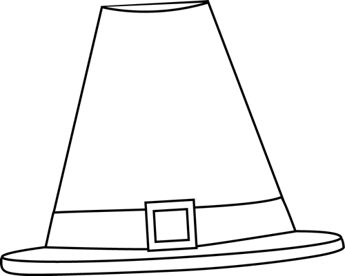 Black and White Pilgrim Hat Clip Art - Black and White ...