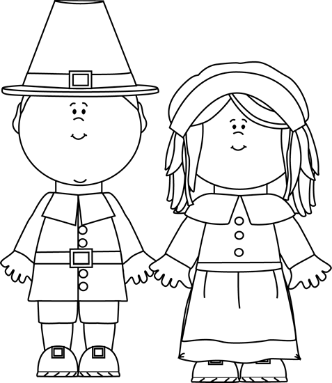 Black and white pilgirms clip art black and white for Boy pilgrim coloring page