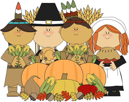 Pilgrims and Indians with Thanksgiving Harvest
