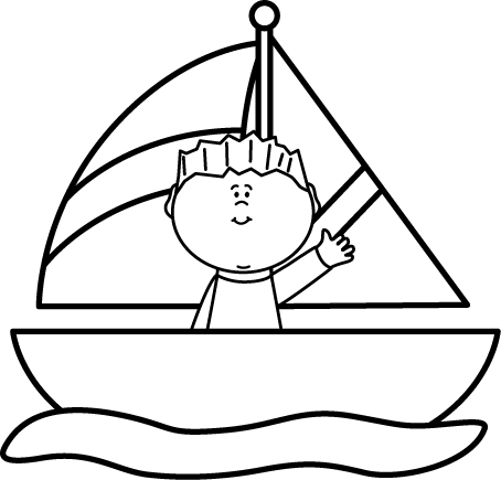 Black and White Boy in a Sailboat